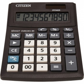 Калкулатор Citizen CMB-1001BK, 10-цифрен едноредов LCD дисплей, настолен, корен квадратен, функция на паметта с 4 клавиша: MR, MC, M +, M-, автоматично изключване, черен image