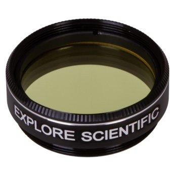 Филтър за телескоп Explore Scientific N8, светложълт филтър, 1.25mm диаметър на цилиндъра, анти-рефлективен image