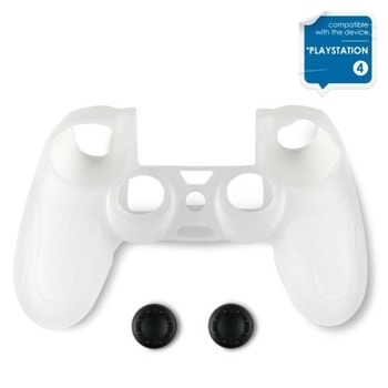 Протектор Spartan Gear Silicon Skin Cover + Thumb Grips, за Dualshock 4, прозрачен image
