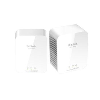 Powerline адаптер D-Link PowerLine AV2 2000 HD Gigabit Starter Kit, 1900Mbps, 1x LAN1000, 2 устройства image