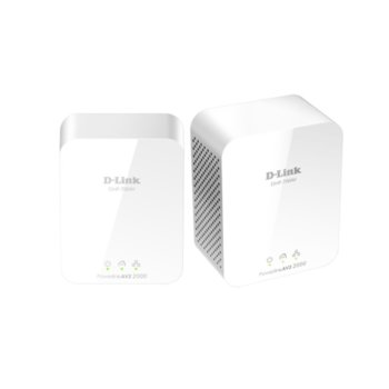 Powerline адаптер D-Link PowerLine AV2 2000 HD Gigabit Starter Kit, 1900Mbps, 1x LAN1000, 2 устройства image