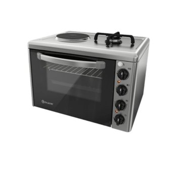 Готварска печка Елдом 213VF, газ/ток, енергиен клас A, обем 38 L, 2 нагревателни зони, 3100W, инокс image