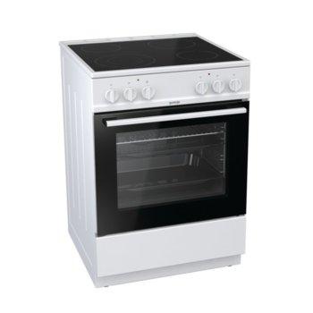 Готварска печка Gorenje EC6141WC, клас А, 4 стъклокерамични нагревателни зони, 67 л. обем, термоелектрически предпазител, WarmPlate функция, бяла  image