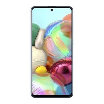"""Смартфон Samsung Galaxy A71 (син), поддържа 2 sim карти, 6.7"""" (17.01 cm) Full HD+ Super AMOLED Plus, осемядрен Qualcomm SDM730 2.2GHz, 6GB RAM, 128GB Flash памет (+microSD), 64.0 MP + 12.0 + 5.0 + 5.0 MP & 32.0 Mpix, Android, 179g. image"""
