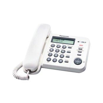 Стационарен телефон Panasonic KX-TS560FXW, LCD черно-бял дисплей, бял image