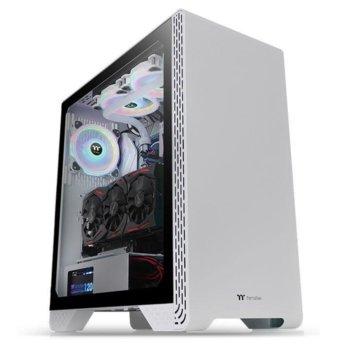 Кутия Thermaltake S300 TG Snow, ATX/Micro ATX/Mini ITX, 1x USB 3.0, 2x USB 2.0, закалено стъкло, бяла, без захранване image