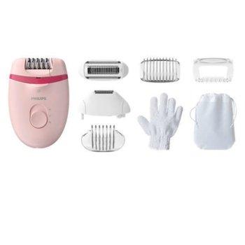 Епилатор Philips Satinelle Essential, за крака и чувствителни зони, 7 приставки, розов image