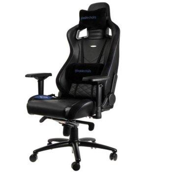 Геймърски стол noblechairs EPIC, кожен, черен със син надпис image
