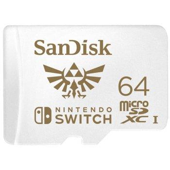 Карта памет 64GB microSDXC SanDisk, UHS-I, скорост на четене 100МB/s, скорост на запис 60MB/s, за Nintendo Switch image