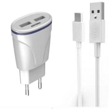 Зарядно устройство C830E, от контакт към 2x USB A(ж), 5V/2.1, с кабел от USB A(м) към USB micro B(м), бяло image