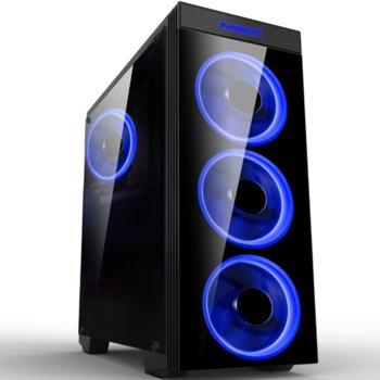 Кутия Makki MAKKI-8872-BLUE-4F, ATX/mATX/Mini-ITX, 1x USB 3.0, прозрачни панели, 4x 120мм вентилатора със синя подсветка, черна, без захранване image