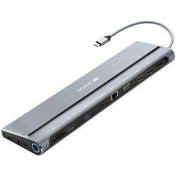 Докинг станция Canyon CNS-HDS09B, RJ-45(10/100/1000), 1x Display Port, 2x HDMI, 1x VGA, 2x USB 3.0, 1x USB 2.0, USB 2.0 Type C, SDCard reader, 1x 3.5mm(mic&audio), черна image