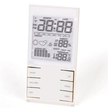 Електронна метеостанция Royal CX-505, термометър, часовник, дата, измерване на влага/влажност, LED Осветление, бяла image
