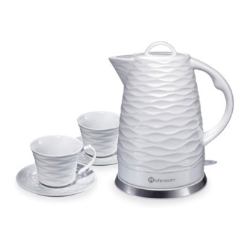 Електрическа керамична кана Rohnson R 7803 + 2 керамични чаши, вместимост 1.7 л., aвтоматично изключване, защита срещу прегряване и пускане без вода, 1500 W, бяла image