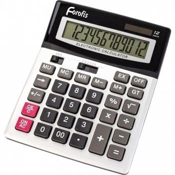 """Калкулатор Forofis 91592, 12-разряден LCD дисплей, настолен, десетичен селектор, закръглящ селектор, корен квадратен, двойна памет, клавиш """"тройна нула"""" функция на паметта с 4 клавиша: MR, MC, M +, M-, сребрист image"""