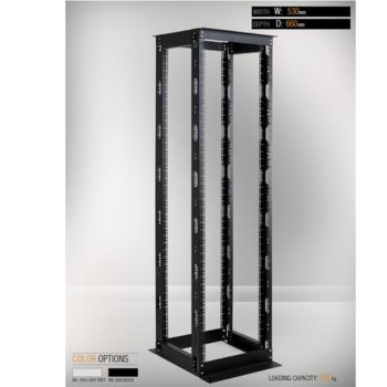 Комуникационен шкаф MIRSAN MR.OPR26UDF66.01, OPEN RACK DOUBLE FRAME, 535 x 660 x 1200 мм, D=660 мм / 26U, отворен, черен image