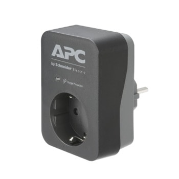 Разклонител APC Essential SurgeArrest, 1 гнездо, пикова мощност 4000W, номинален изходен ток 16A, черен image