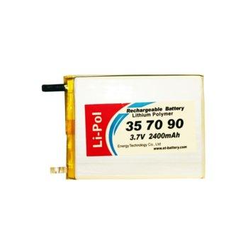 Литиева батерия LP357090, 3.7V, 2400mAh, Li-polymer, 1бр. image