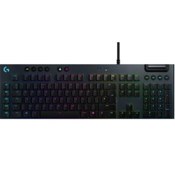 Клавиатура Logitech G815, геймърска, механична, clicky суичове, RGB подсветка, нископрофилни клавиши, UK layout, черна, USB image