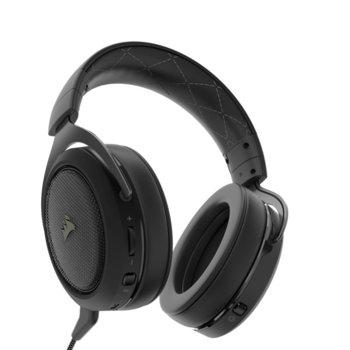 Слушалки Corsair HS70, безжични, разглобяем микрофон, 7.1 съраунд, до 16 часа с едно зареждане, сиви, USB image