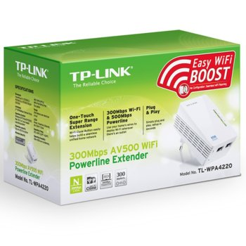 Powerline адаптер TP-Link AV600 TL-WPA4220, 300 Mbps, максимален обхват до 300m, 2x 10/100Mbps, единичен. image