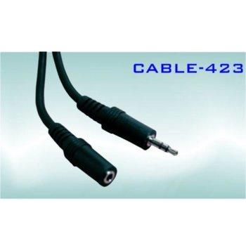 Кабел Royal CABLE-423/2, от 3.5mm жак(м) към 3.5mm жак(ж), 2m, черен image