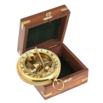 Компас K&R Tobago Sun Dial в дървена подаръчна кутия, ръчна изработка image