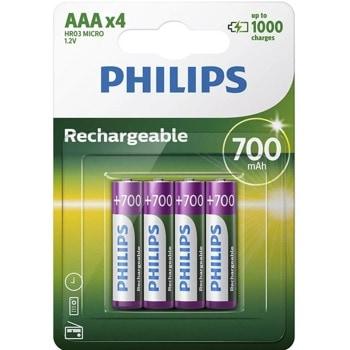 Акумулаторна батерия Philips Rechargeable R03B4A70/10, AAA, 1.2V, 700mAh, NiMH, 4бр. image