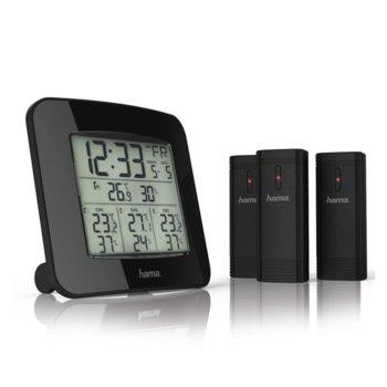 "Електронна метеостанция HAMA ""EWS-Trio"", час, календар, аларма, подсветка, черен image"