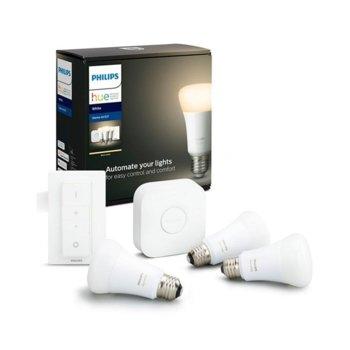 Смарт осветителна система PHILIPS Hue Начален комплект E27, ключ/лампи/мост, WiFi, 806 lm, бяла image
