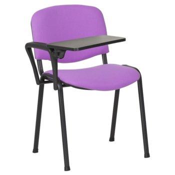Посетителски стол Carmen 1140 LUX, метални крака, полипропиленова масичка за писане, дамаска, лилав image