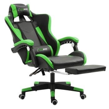 Геймърски стол Herzberg HG-8080GRN, еко кожа, регулируема височина, газов амортисьор, до 150 kg, зелен image