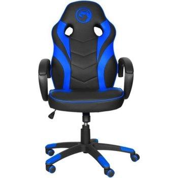 Геймърски стол Marvo MARVO-CH-301-BL, еко кожа, газов амортисьор, до 150 кг. черен/син image