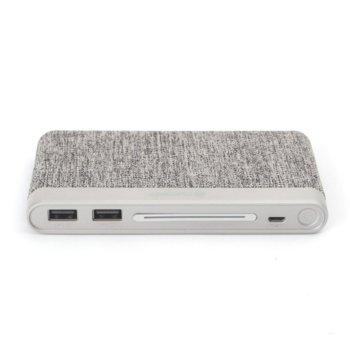 Външна батерия/power bank/ Platinet Power Bank Polymer Fabric Braided, 10000 mAh, 2x USB, сива image