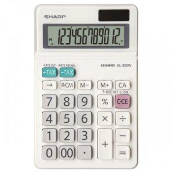 Калкулатор SHARP EL-320W, 12 разряден дисплей, бял image