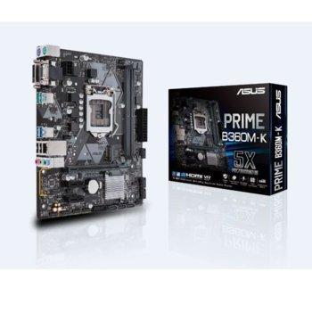 Дънна платка ASUS PRIME B360M-K, B360, LGA1151, DDR4, PCI-E (DVI-D&D-Sub), 6x SATA 6Gb/s, 1x M.2 Socket, 2x USB 3.1 Gen 2 Type-A up to 10Gbps, mATX image