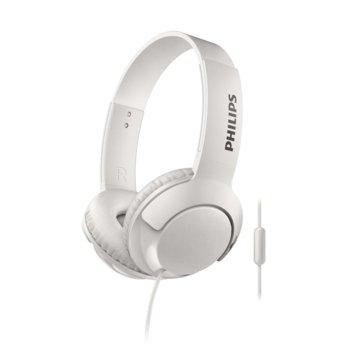 Слушалки Philips SHL3075WT, микрофон, 3.5 mm жак, бели image