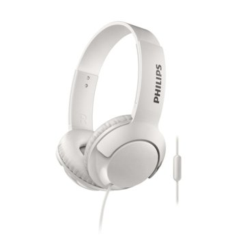 Слушалки Philips SHL3075WT, микрофон, 3.5 mm жак, бели image