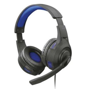 Слушалки Trust GXT 307B RAVU, микрофон, 3.5mm жак, регулатор силата на звука, съвместими с PS4/Xbox One/Nintendo Switch, сини/черни image