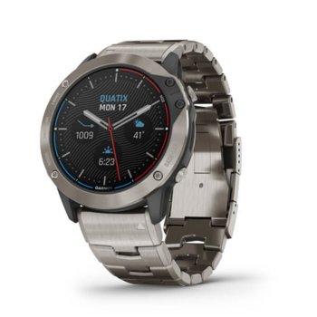 "Смарт часовник Garmin quatix® 6x Solar, 1.4"" (3.55 cm) трансфлективен дисплей, Bluetooth, Wi-Fi, 32GB вградена памет, водоустойчив, титаниев image"