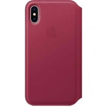 Калъф Apple iPhone X, flip cover, кожен, лилав image