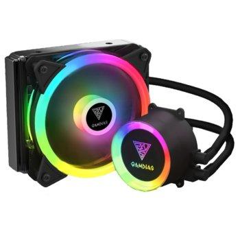 Водно охлаждане за процесор Gamdias CHIONE E2-120 LITE, съвместимост със сокети LGA 775/1366/2066/2011-3/2011-0/1156/1155/1151/1150/1200 & AMD FM1/FM2/FM2+/AM2/AM2+/AM3/AM3+/AM4, RGB подсветка image