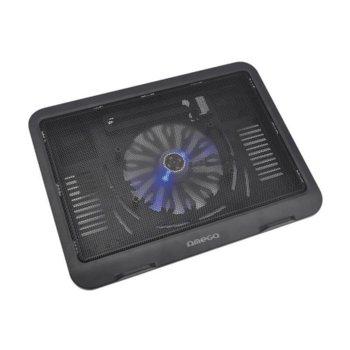 """Охлаждаща поставка за лаптоп Omega Laptop Cooler Pad 14 cm Fan, за лаптопи от 10""""(25.4cm) до 15,6""""(39.62 cm), черна image"""