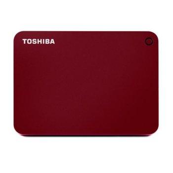 """Твърд диск 1TB Toshiba Canvio Advance (червен), външен, 2.5"""" (6.35 cm), USB 3.0 image"""