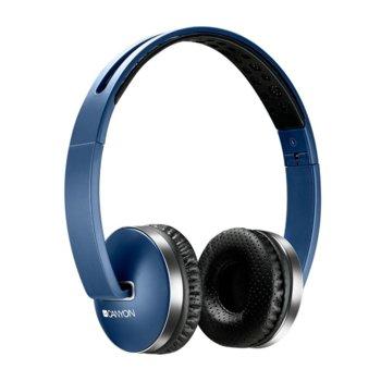 Слушалки Canyon CNS-CBTHS2BL, безжични(Bluetooth 4.2), микрофон, до 6 часа време за работа, бързи бутони, сгъваеми, сини image