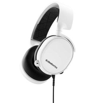 Слушалки SteelSeries Arctis 3 2019 Edition, гейминг, микрофон, контрол на звука, бели image