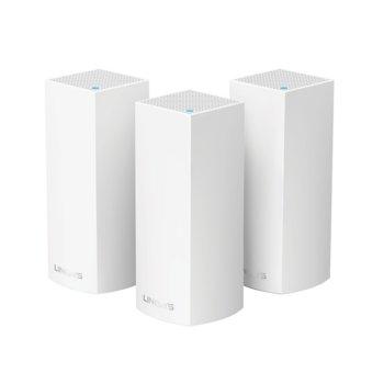 Рутер Linksys WHW0303, 2134Mbps, 2.4GHz/5GHz/5GHz(867+867+400Mbps), Tri-Band AC2200, 2x WAN/LAN auto-sensing Gigabit Ethernet ports, 6x вътрешни антени, четириядрен 716MHz процесор, 4GB Flash памет, 512MB RAM, 3x устройства image