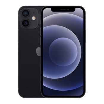 Смартфон Apple iPhone 12 (MGJ53RM/A)(черен), Super Retina XDR OLED дисплей, шестядрен A14 Bionic, 4GB RAM, 64GB Flash памет, 12.0 + 12.0 & 12.0 MPix камера, iOS 14, 164 g image