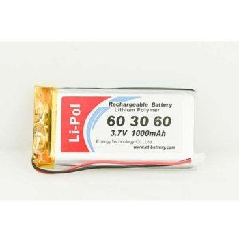 Литиева батерия LP603060-PCM, 3.7V, 1000mAh, Li-polymer, 1бр., PCM защита image