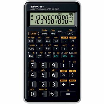 Калкулатор Sharp EL-501T, 12 разряден дисплей, научен, изпълнява над 146 научни, инженерни и математически функции, черен image